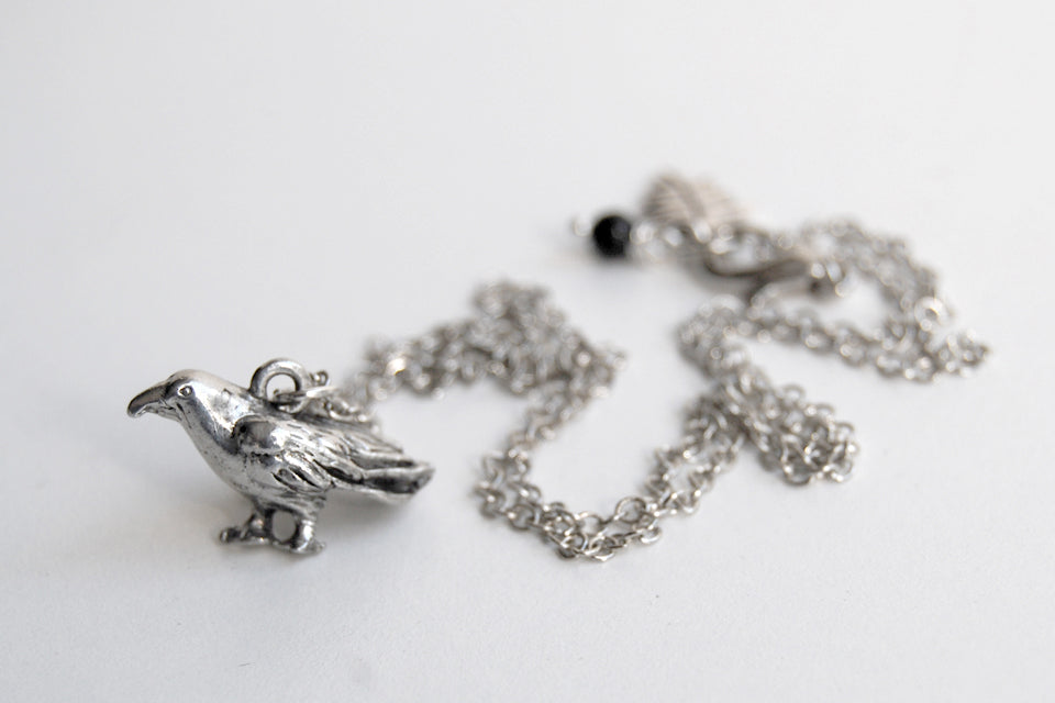Silver Raven Necklace | Raven Charm Necklace | Cute Bird Jewelry - Enchanted Leaves - Nature Jewelry - Unique Handmade Gifts