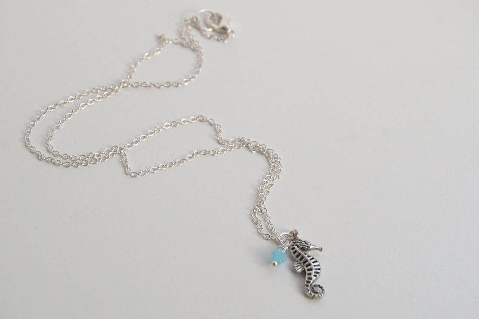 Silver Seahorse Necklace | Sea Horse Charm Necklace | Nautical Jewelry - Enchanted Leaves - Nature Jewelry - Unique Handmade Gifts