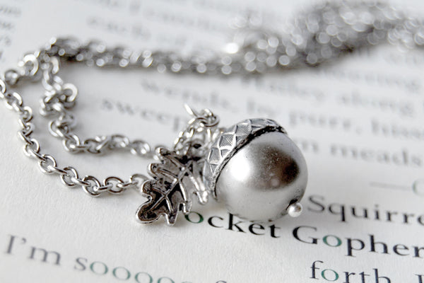 Silver Pearl Acorn Necklace | Cute Nature Acorn Charm Necklace | Fall Acorn Necklace | Woodland Acorn | Nature Jewelry - Enchanted Leaves - Nature Jewelry - Unique Handmade Gifts