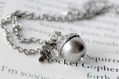 Silver Pearl Acorn Necklace | Cute Nature Acorn Charm Necklace | Fall Acorn Necklace | Woodland Acorn | Nature Jewelry