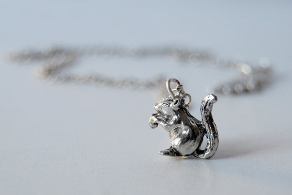 Teeny Tiny Silver Squirrel Necklace | Cute Woodland Squirrel Charm Necklace | Fall Jewelry - Enchanted Leaves - Nature Jewelry - Unique Handmade Gifts