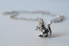 Silver Squirrel Necklace | Woodland Squirrel Charm Necklace | Fall Jewelry