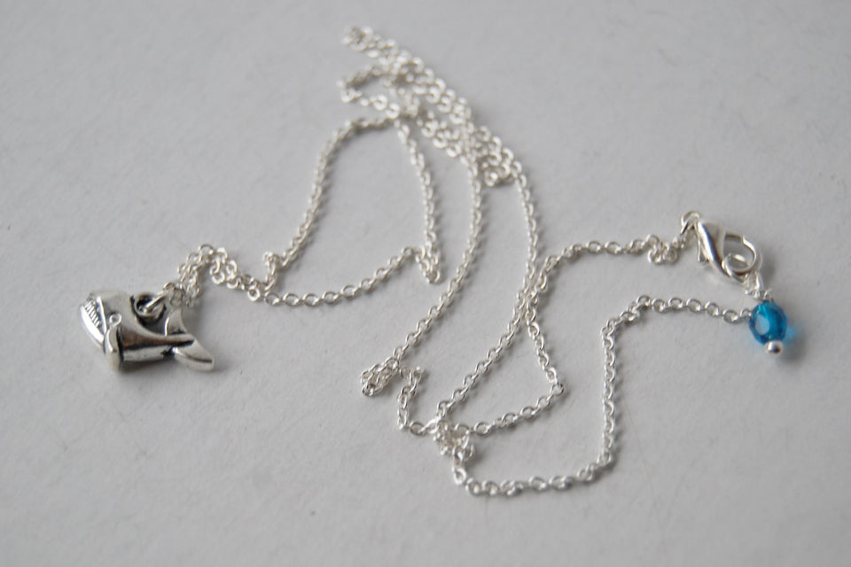 Little Silver Whale Necklace | Tiny Whale Charm Necklace | Nautical Jewelry - Enchanted Leaves - Nature Jewelry - Unique Handmade Gifts