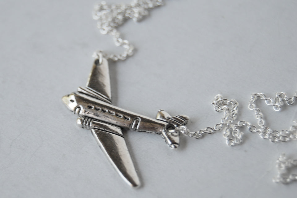 Silver Airplane Necklace | Airplane Charm Necklace | Airplane Jewelry - Enchanted Leaves - Nature Jewelry - Unique Handmade Gifts