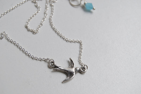 Little Swallow Bird Necklace | Silver Bird Charm Necklace | Rockabilly Jewelry - Enchanted Leaves - Nature Jewelry - Unique Handmade Gifts