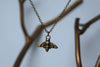 Tiny Brass Bee Charm Necklace - Enchanted Leaves - Nature Jewelry - Unique Handmade Gifts