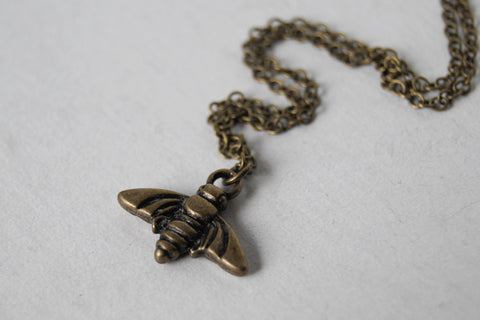 Tiny Brass Bee Charm Necklace