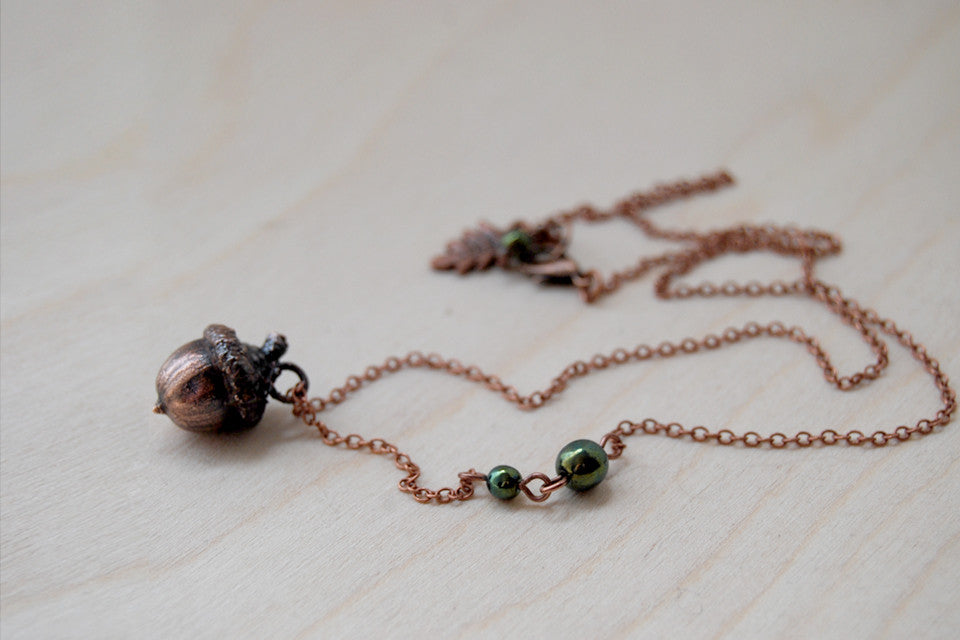 Small Fallen Copper Acorn Necklace | REAL Acorn Pendant - Enchanted Leaves - Nature Jewelry - Unique Handmade Gifts