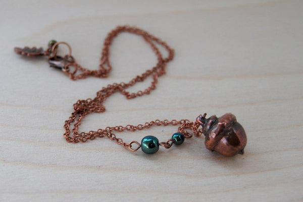 Small Fallen Copper Acorn Necklace | REAL Acorn Pendant | Copper Electroformed Pendant | Nature Jewelry - Enchanted Leaves - Nature Jewelry - Unique Handmade Gifts