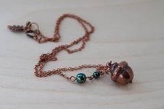 Small Fallen Copper Acorn Necklace