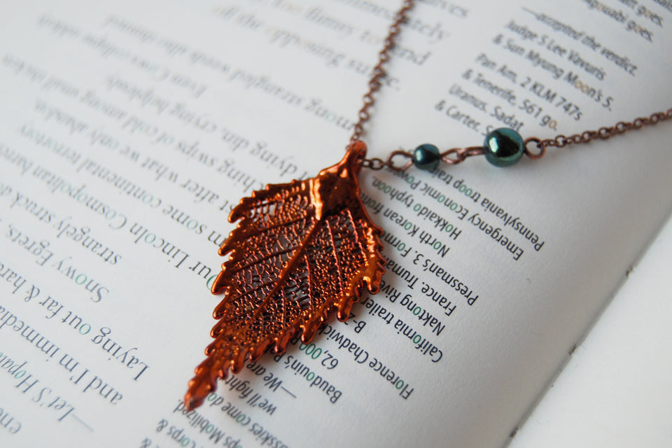 Small Fallen Copper Birch Leaf Necklace | REAL Birch Leaf Pendant | Electroformed Nature Jewelry - Enchanted Leaves - Nature Jewelry - Unique Handmade Gifts