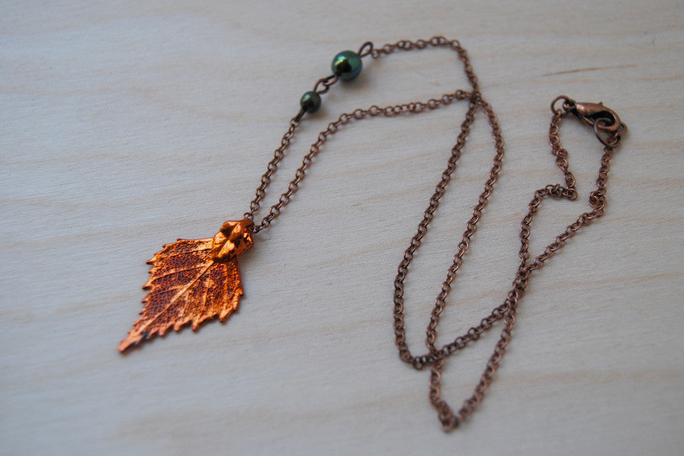 Custom Small Fallen Copper Birch Leaf Necklace | Electroformed Jewelry | Real Birch Leaf Pendant | Nature Jewelry | Fall Leaf Necklace - Enchanted Leaves - Nature Jewelry - Unique Handmade Gifts