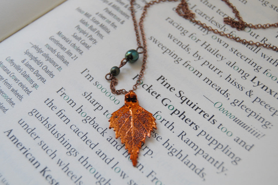 Small Fallen Copper Birch Leaf Necklace | REAL Birch Leaf Pendant | Copper Electroformed Pendant | Nature Jewelry - Enchanted Leaves - Nature Jewelry - Unique Handmade Gifts