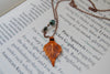 Custom Small Fallen Copper Birch Leaf Necklace | Electroformed Jewelry | Real Birch Leaf Pendant | Nature Jewelry | Fall Leaf Necklace