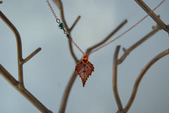 Custom Small Fallen Copper Birch Leaf Necklace