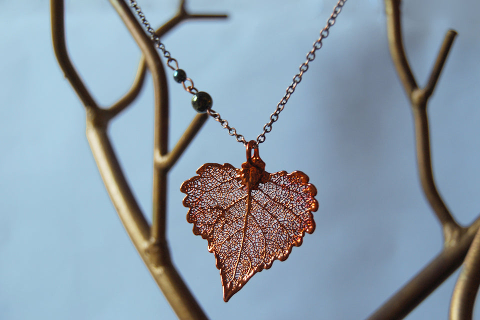 Small Fallen Copper Cottonwood Leaf Necklace | REAL Cottonwood Leaf Pendant | Copper Electroformed Pendant | Nature Jewelry - Enchanted Leaves - Nature Jewelry - Unique Handmade Gifts