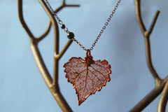 Custom Small Copper Cottonwood Leaf Necklace