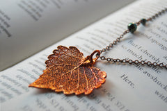 Small Fallen Copper Cottonwood Leaf Necklace | REAL Cottonwood Leaf Pendant | Copper Electroformed Pendant | Nature Jewelry
