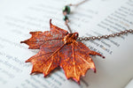 Small Fallen Copper Maple Leaf Necklace | REAL Maple Leaf Pendant | Copper Electroformed Pendant | Nature Jewelry - Enchanted Leaves - Nature Jewelry - Unique Handmade Gifts