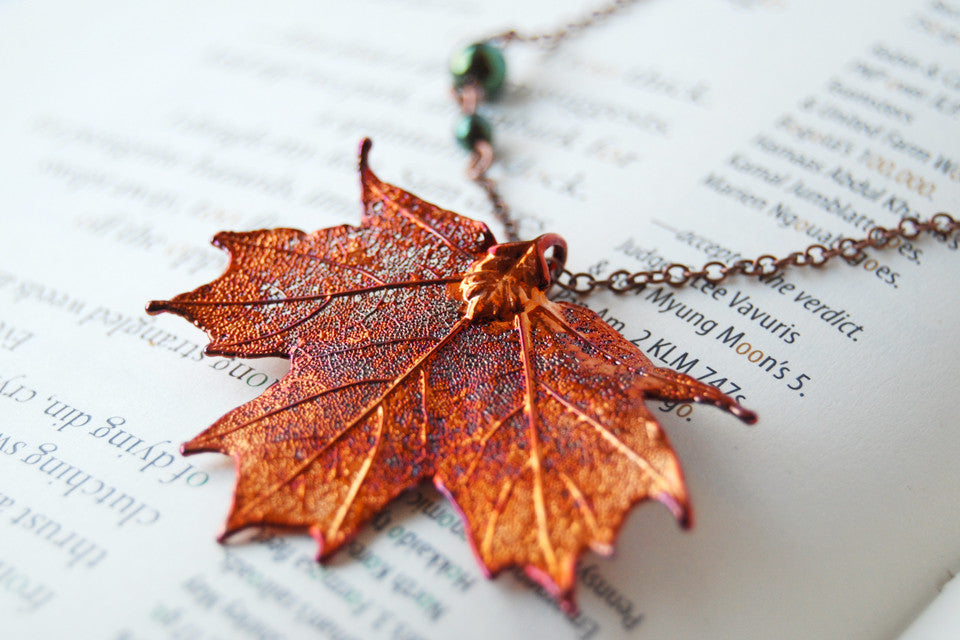 Medium Fallen Copper Maple Leaf Necklace | REAL Maple Leaf Pendant | Copper Electroformed Pendant | Nature Jewelry - Enchanted Leaves - Nature Jewelry - Unique Handmade Gifts