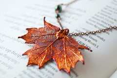Small Fallen Copper Maple Leaf Necklace | REAL Maple Leaf Pendant | Copper Electroformed Pendant | Nature Jewelry