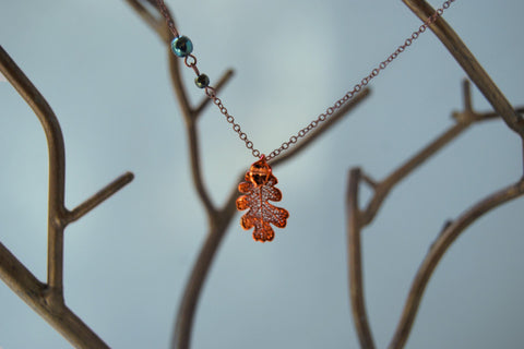 Custom Small/Tiny Copper Oak Leaf Necklace