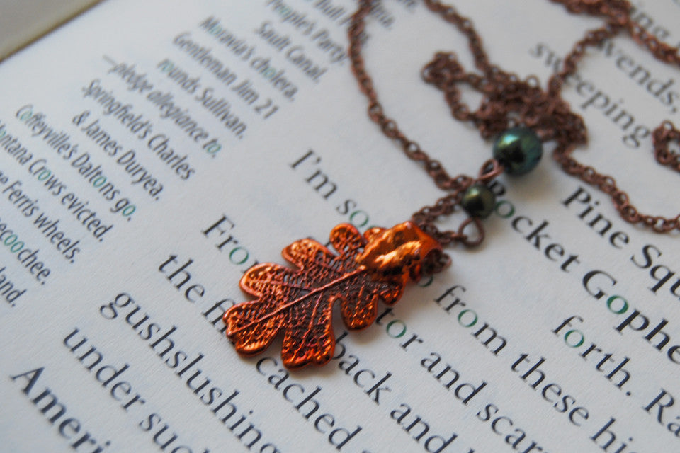 Custom Small Copper Oak Leaf Necklace | Electroformed Jewelry | Real Oak Leaf Pendant | Nature Jewelry | Fall Leaf Necklace - Enchanted Leaves - Nature Jewelry - Unique Handmade Gifts
