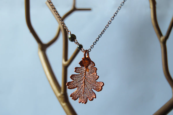 Custom Medium Copper Oak Leaf Necklace | Electroformed Jewelry | Real Oak Leaf Pendant | Nature Jewelry | Fall Leaf Necklace - Enchanted Leaves - Nature Jewelry - Unique Handmade Gifts