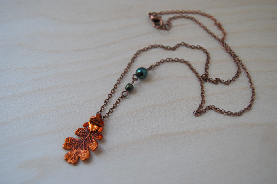 Small Fallen Copper Oak Leaf Necklace | REAL Oak Leaf Pendant | Copper Electroformed Pendant | Nature Jewelry - Enchanted Leaves - Nature Jewelry - Unique Handmade Gifts