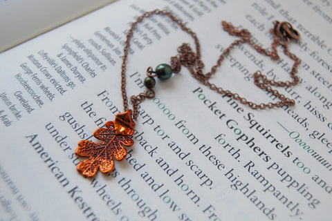 Small/Tiny Fallen Copper Oak Leaf Necklace