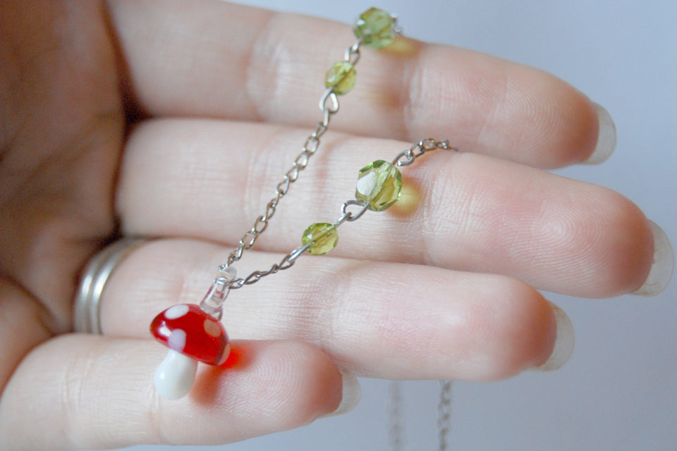 Tiny Glass Mushroom Necklace - Enchanted Leaves - Nature Jewelry - Unique Handmade Gifts