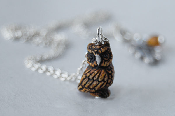 Tiny Night Owl Necklace - Enchanted Leaves - Nature Jewelry - Unique Handmade Gifts