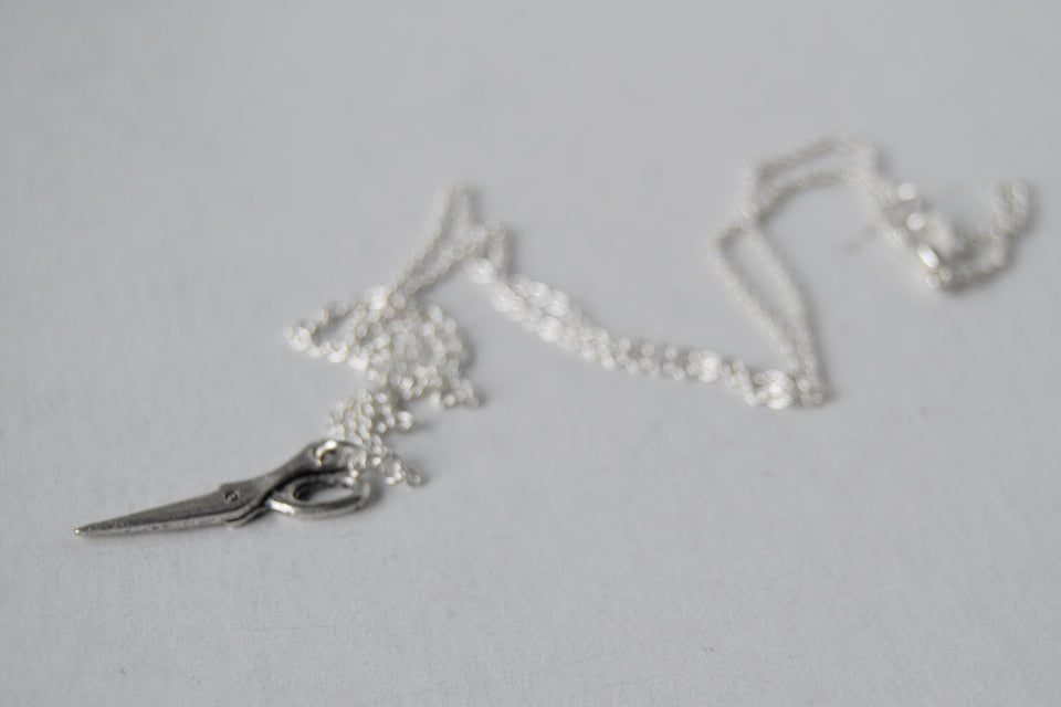 Mini Scissors Necklace | Silver Scissor Charm Necklace | Tool Jewelry - Enchanted Leaves - Nature Jewelry - Unique Handmade Gifts
