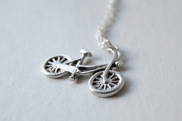 Tiny Silver Bike Necklace - Enchanted Leaves - Nature Jewelry - Unique Handmade Gifts