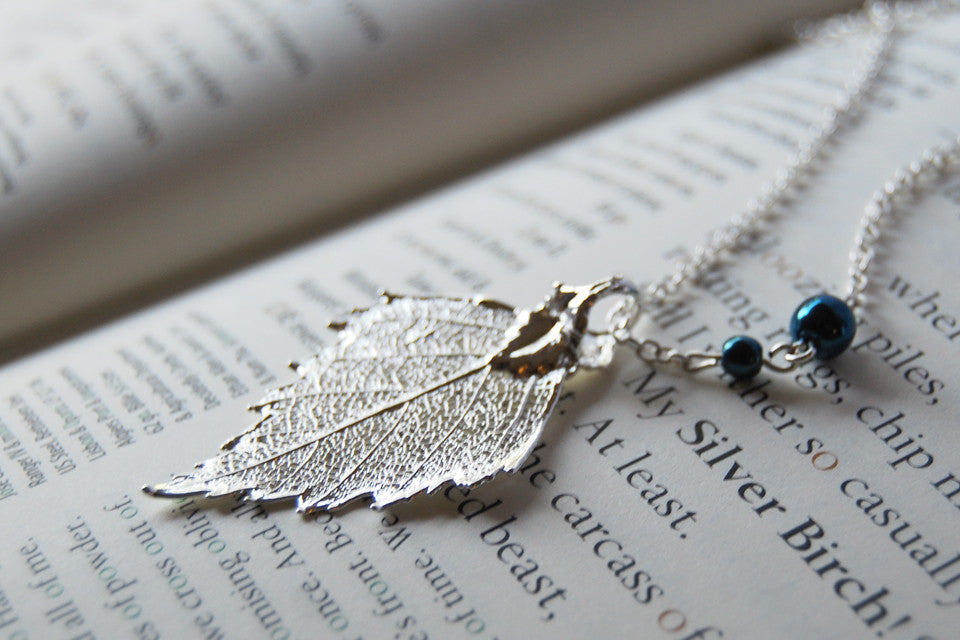 Custom Small Silver Birch Leaf Necklace | REAL Birch Leaf Electroformed Pendant | Nature Jewelry - Enchanted Leaves - Nature Jewelry - Unique Handmade Gifts