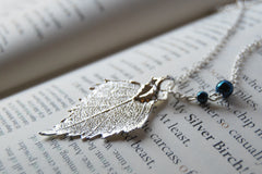 Small/Tiny Fallen Silver Birch Leaf Necklace