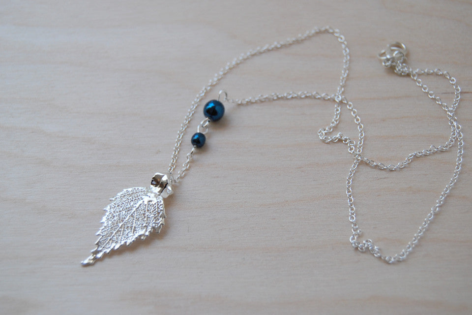 Small Fallen Silver Birch Leaf Necklace Silver - Enchanted Leaves - Nature Jewelry - Unique Handmade Gifts