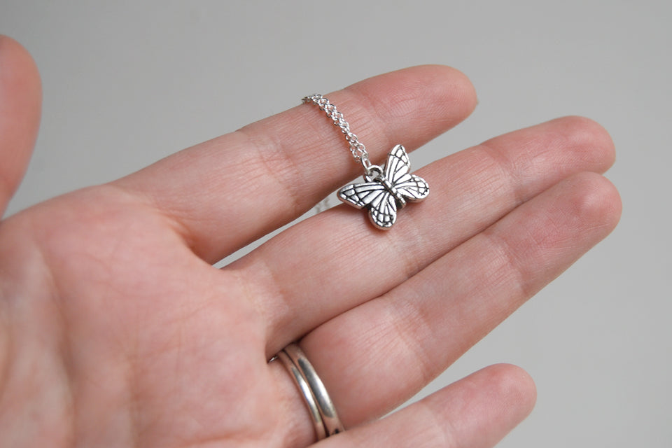 Small Silver Butterfly Necklace | Butterfly Charm Necklace - Enchanted Leaves - Nature Jewelry - Unique Handmade Gifts