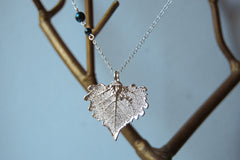 Custom Small Silver Cottonwood Leaf Necklace