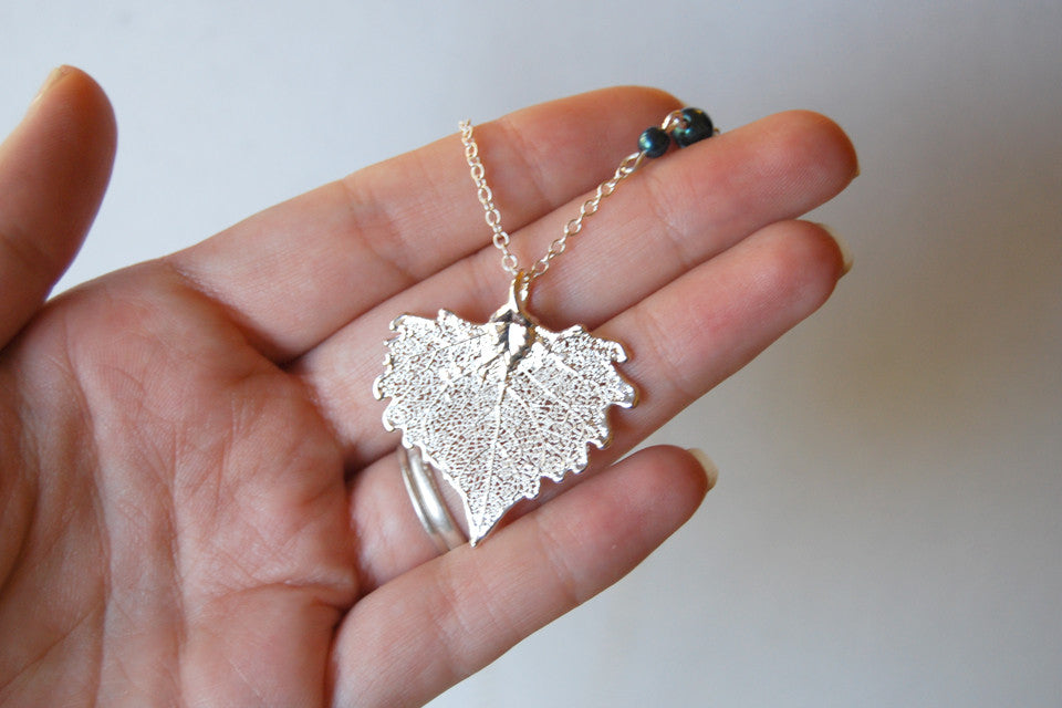 Custom Small Silver Cottonwood Leaf Necklace | Electroformed Jewelry | Real Cottonwood Leaf Pendant | Nature Jewelry | Fall Leaf Necklace - Enchanted Leaves - Nature Jewelry - Unique Handmade Gifts