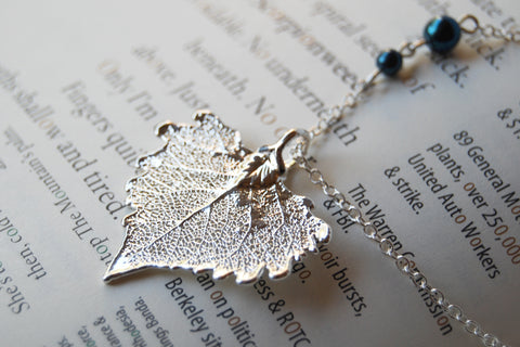 Small Silver Cottonwood Leaf Necklace | REAL Cottonwood Leaf Pendant | Silver Electroformed Pendant | Nature Jewelry
