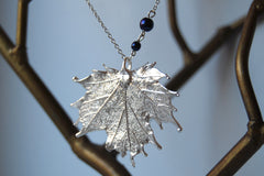 Custom Medium Silver Maple Leaf Necklace