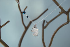 Custom Small Silver Oak Leaf Necklace