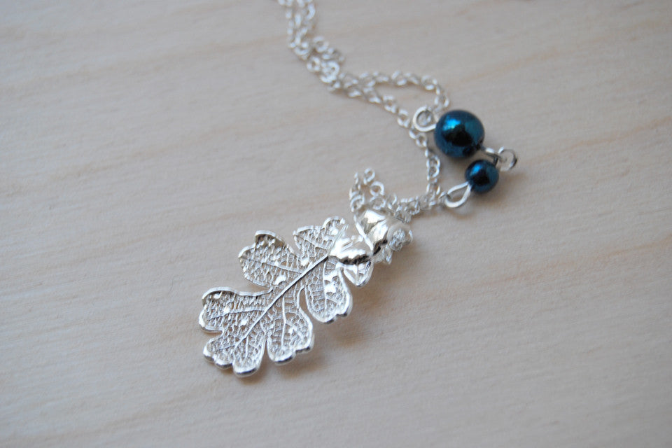 Small Silver Oak Leaf Necklace | Electroformed Leaf Pendant | Real Oak Leaf Nature Jewelry - Enchanted Leaves - Nature Jewelry - Unique Handmade Gifts
