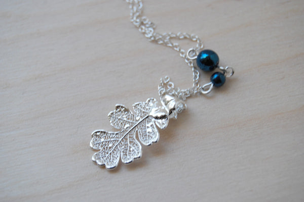 Small Fallen Silver Oak Leaf Necklace | REAL Oak Leaf Pendant | Silver Electroformed Pendant | Nature Jewelry - Enchanted Leaves - Nature Jewelry - Unique Handmade Gifts