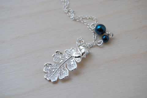 Small Fallen Silver Oak Leaf Necklace | REAL Oak Leaf Pendant | Silver Electroformed Pendant | Nature Jewelry