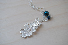 Small Fallen Silver Oak Leaf Necklace
