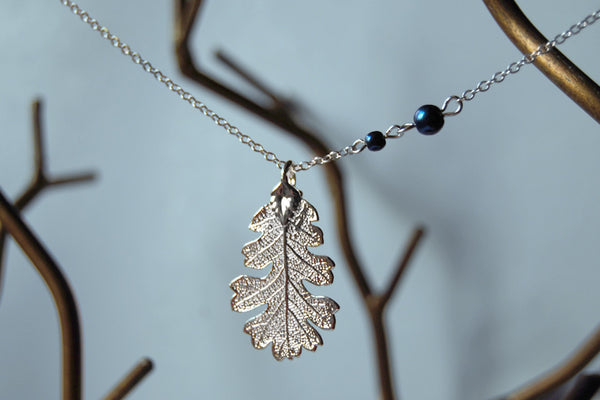 Custom Medium Silver Oak Leaf Necklace | Electroformed Jewelry | Real Oak Leaf Pendant | Nature Jewelry | Fall Leaf Necklace - Enchanted Leaves - Nature Jewelry - Unique Handmade Gifts