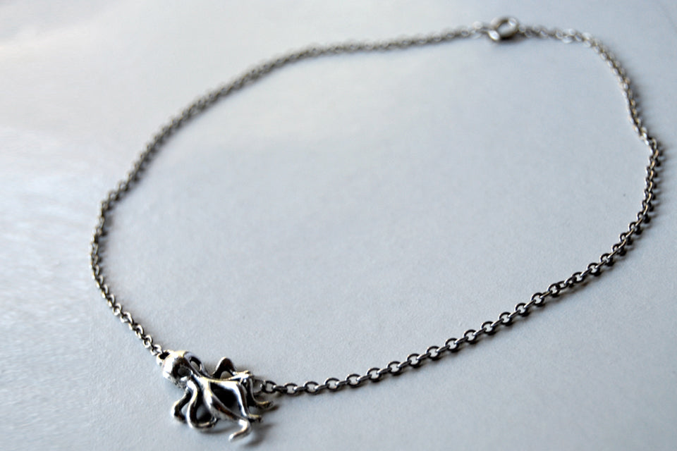 Sweet and Simple Octopus Necklace | Octopus Charm Necklace | Nautical Jewelry - Enchanted Leaves - Nature Jewelry - Unique Handmade Gifts
