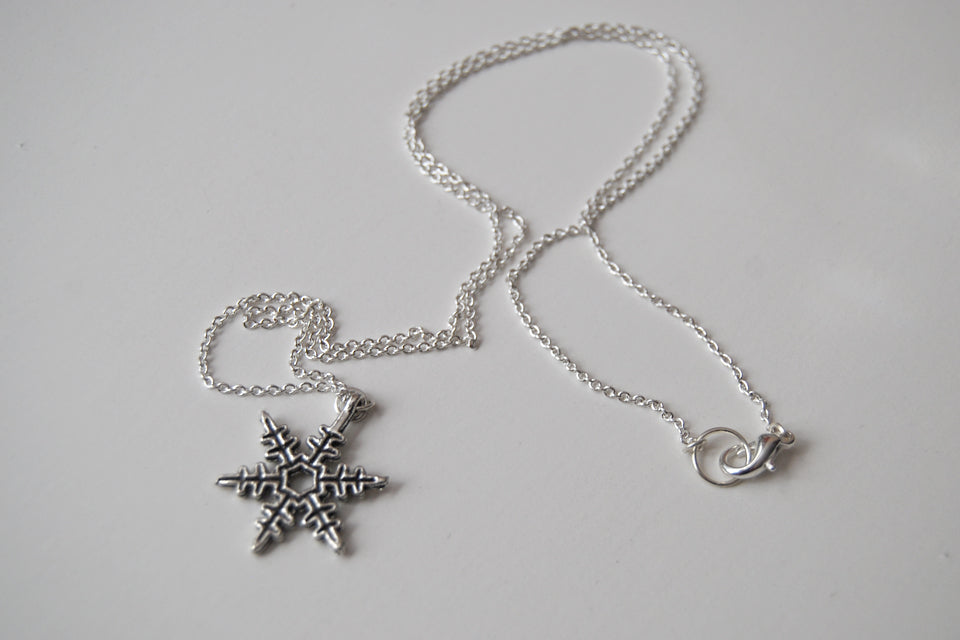 Silver Snowflake Necklace | Winter Snowflake Charm Necklace - Enchanted Leaves - Nature Jewelry - Unique Handmade Gifts